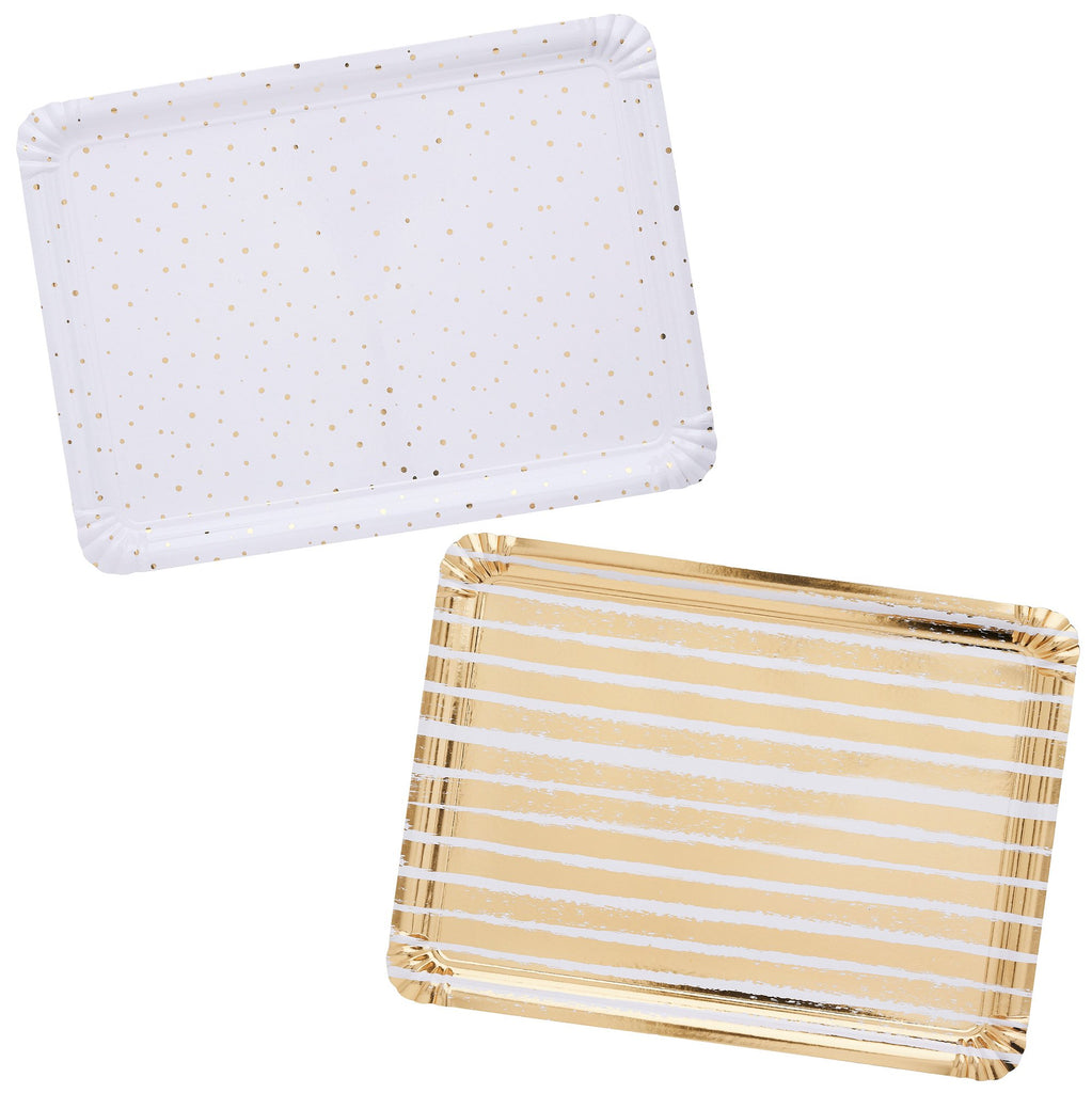 4 Gold Striped & Spotted Paper Trays
