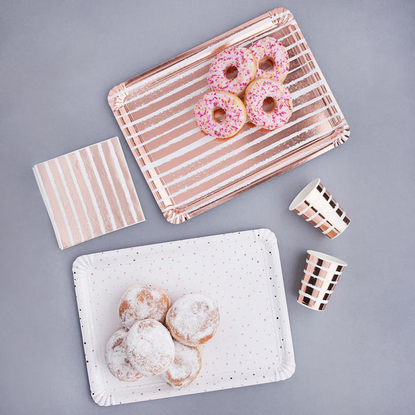 4 Rose Gold Striped & Spotted Paper Trays