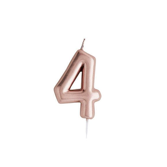 Rose Gold Number 4 Candle
