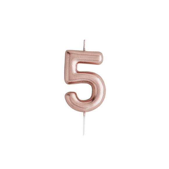 Rose Gold Number 5 Candle