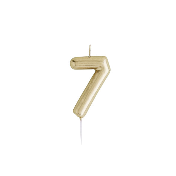 Gold Number 7 Candle