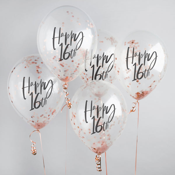 5 Rose Gold Happy 16th Confetti Balloons