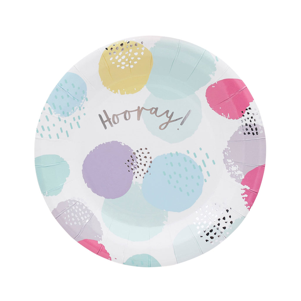 10 Pastel Patterned Hooray Paper Plates