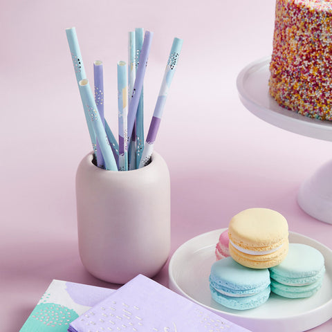 20 Pastel Patterned Paper Straws