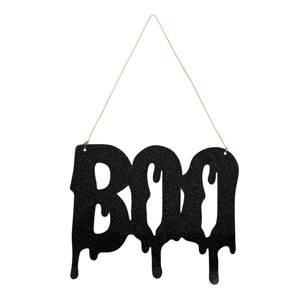 'Boo' Black Glitter Acrylic Sign