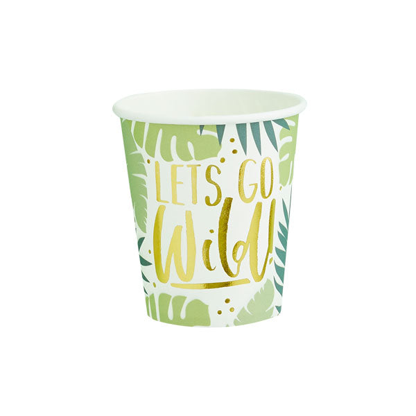 10 Tropical Leaf Patterned Paper Cups