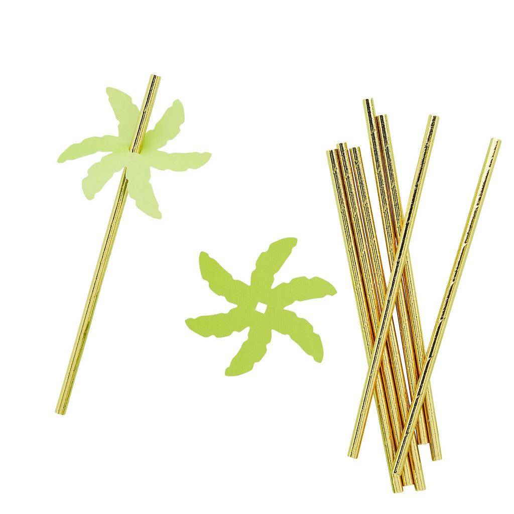 24 Palm Leaf Paper Straws
