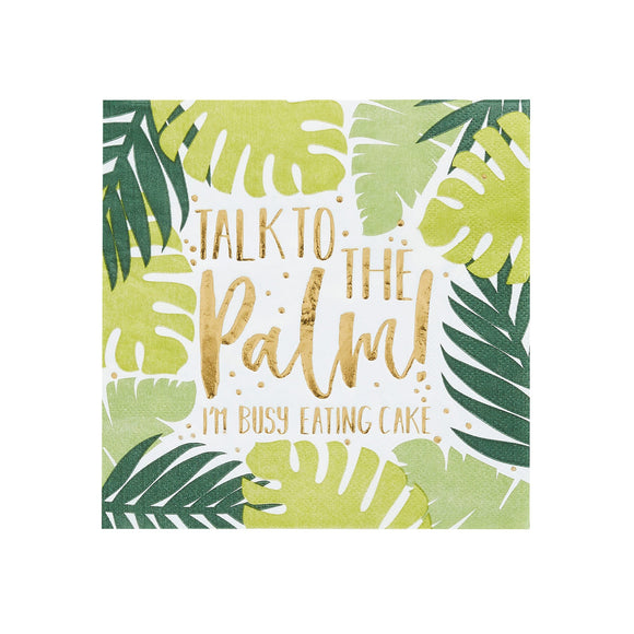 20 Tropical Leaf Patterned Paper Napkins