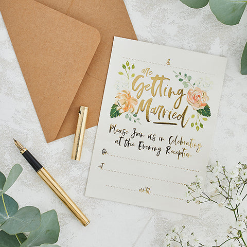 25 Evening Invitations & Kraft Envelopes