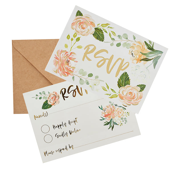 25 RSVP Cards & Kraft Envelopes