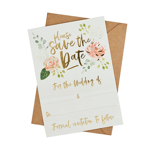 25 Save the Date Cards & Kraft Envelopes