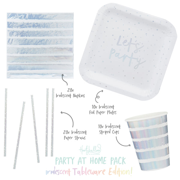 Iridescent Tableware Party At Home Pack