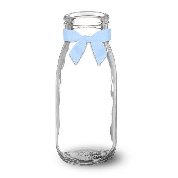 Glass Milk Bottle With Blue Bow
