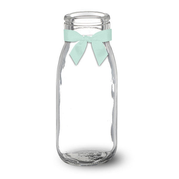 Glass Milk Bottle With Unisex Bow