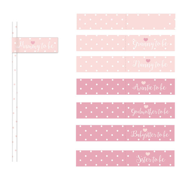 20 Pink Paper Flag Straws