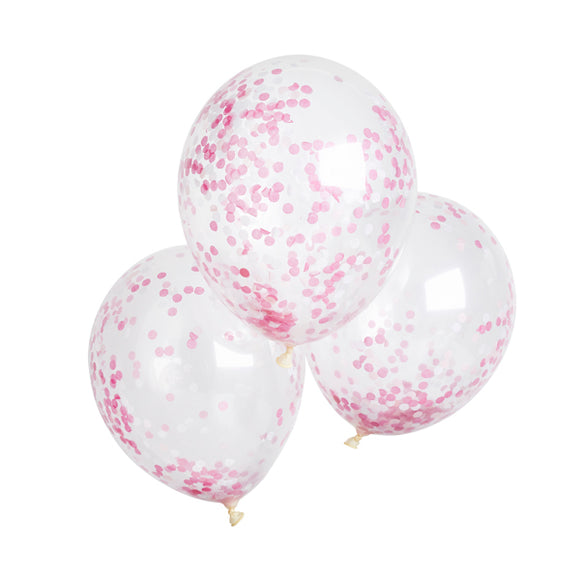 5 Pink Confetti Balloons