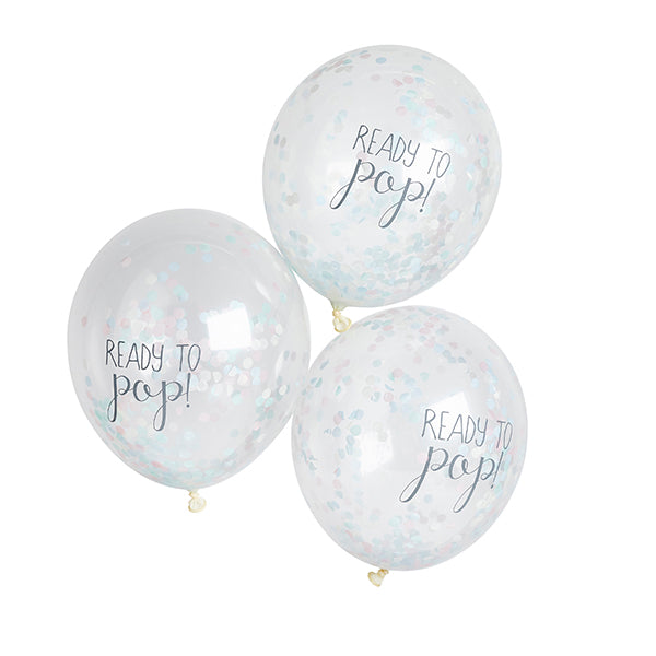 5 Unisex 'Ready to Pop' Confetti Balloons