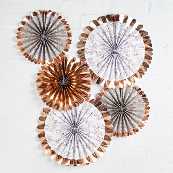 5 Rose Gold Fan Decorations