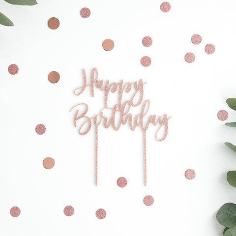 'Happy Birthday' Glitter Acrylic Cake Topper