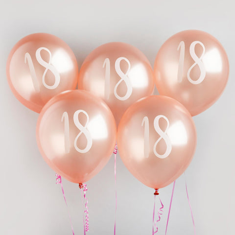5 Rose Gold Number 18 Balloons