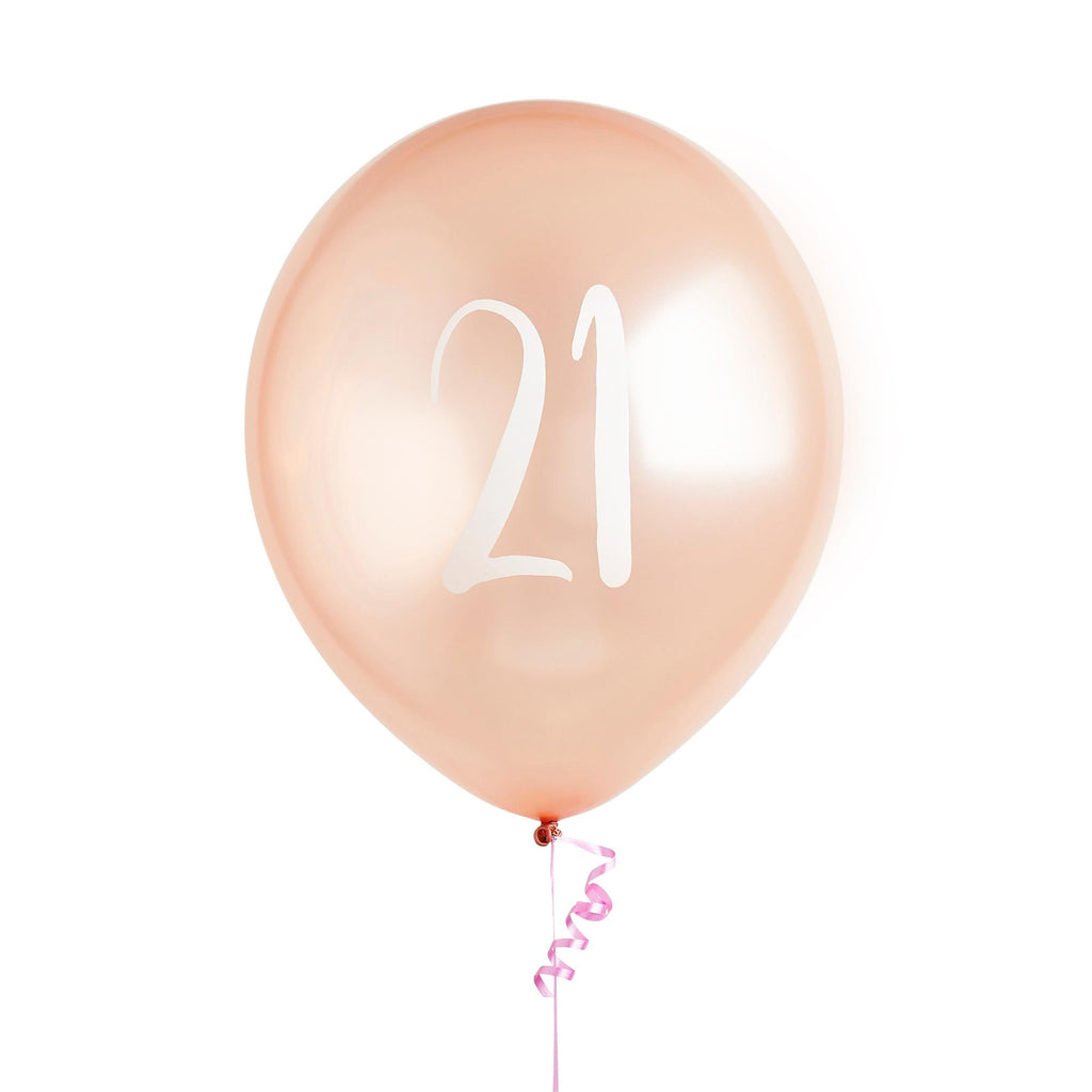5 Rose Gold Number 21 Balloons