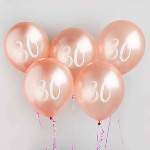 5 Rose Gold Number 30 Balloons