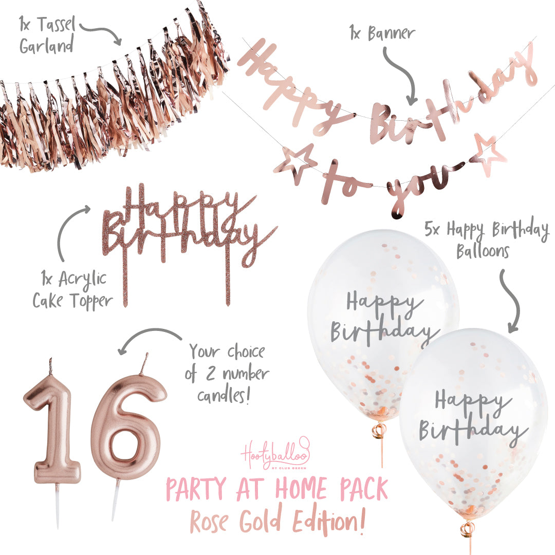 Rose Gold Birthday Party At Home Pack