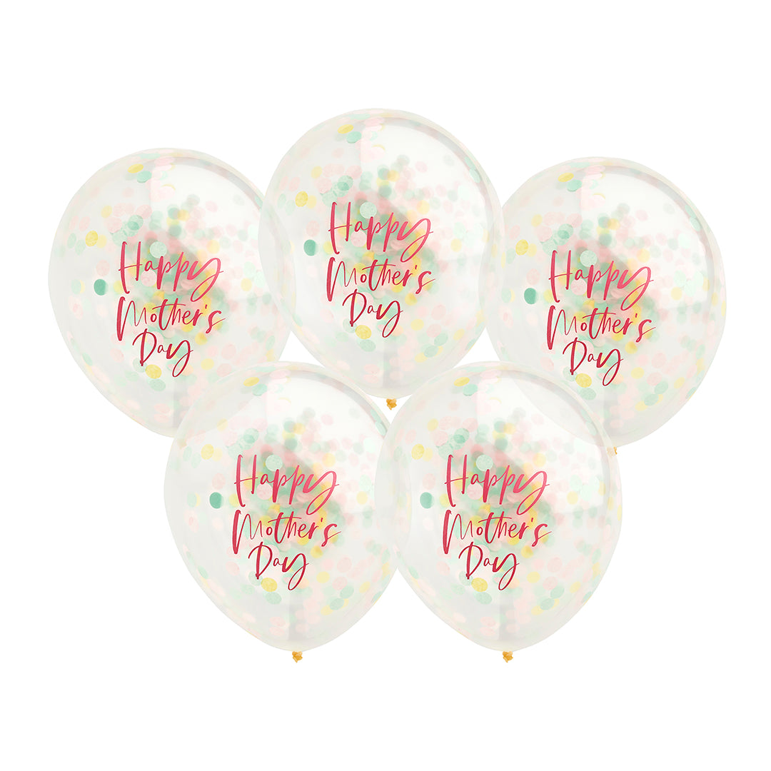 5 Happy Mother's Day Confetti Balloons