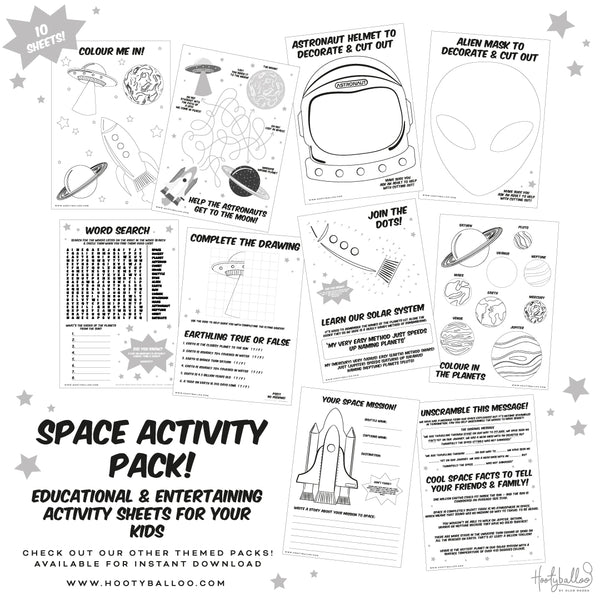 Free Space Activity Sheets Pack Digital Download