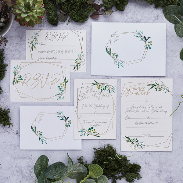 25 Geo Greenery Save the Date Cards & Envelopes