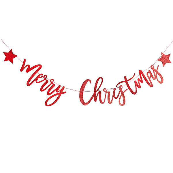 Red Glitter Merry Christmas Banner