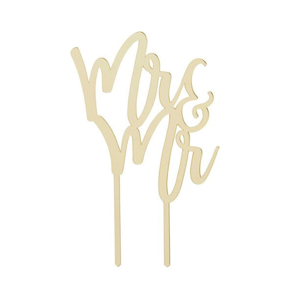 Gold Mirror Acrylic Mr & Mr Cake Topper