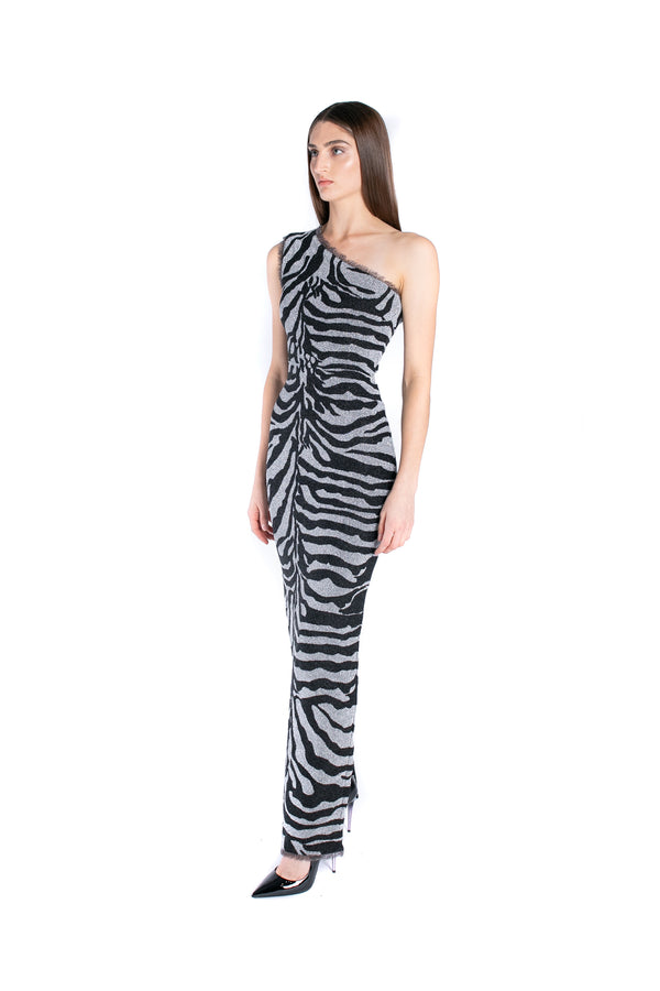 Metallic One Shoulder Zebra Gown