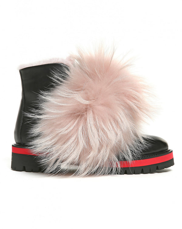 Furry Detail Biker Boot