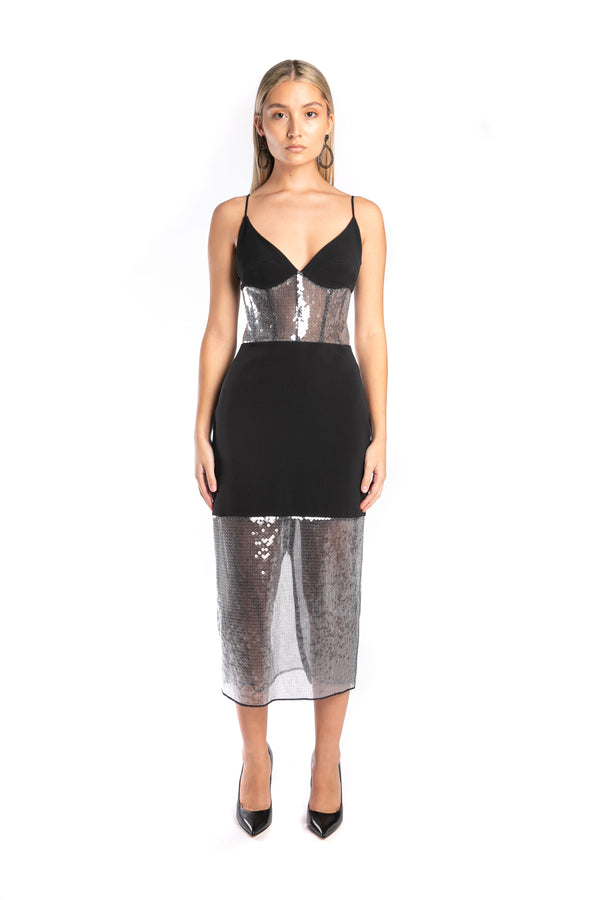 Sequin Panel Pencil Dress