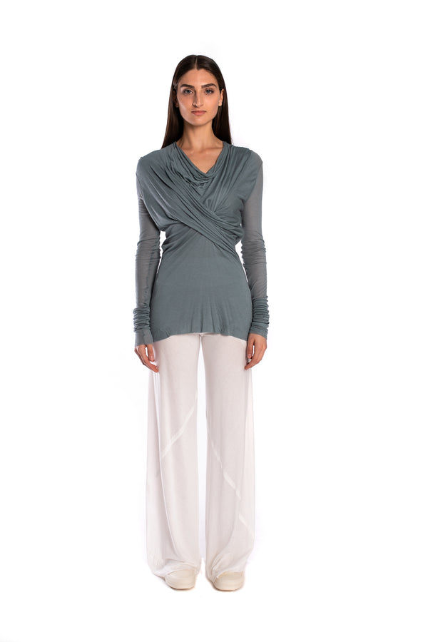 Long-Sleeved Draped Top