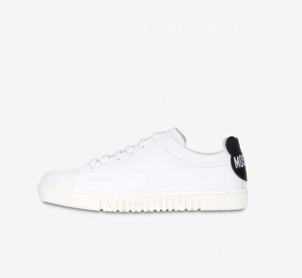 White Leather Teddy Patches Sneakers