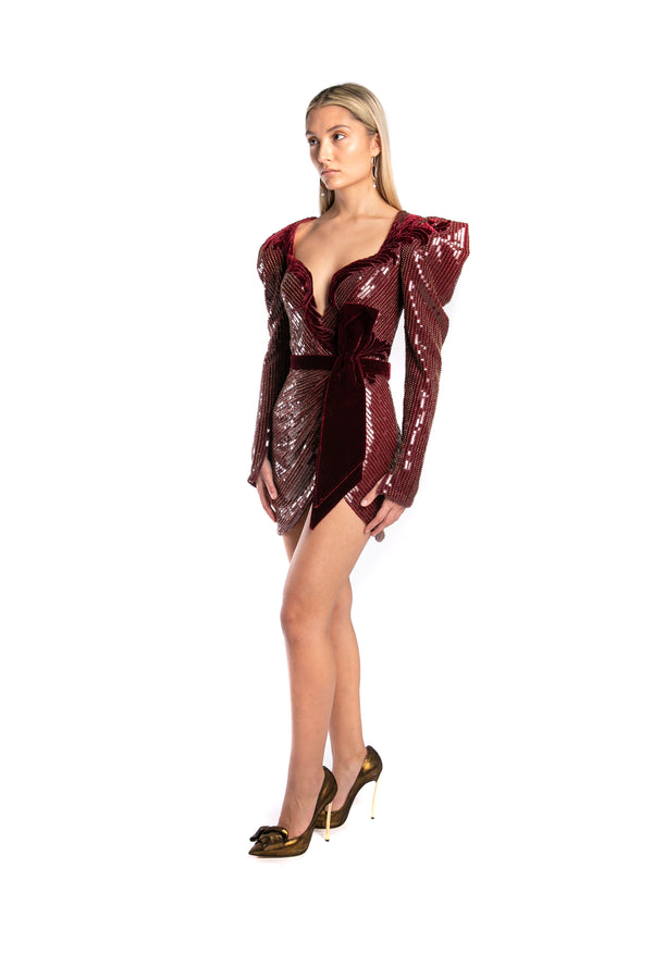 Embellished Velvet Mini Dress