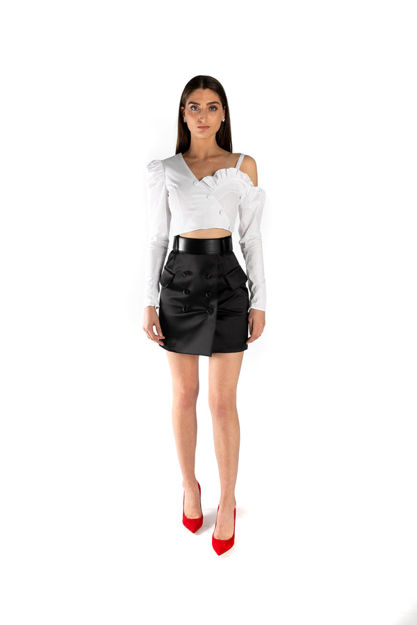 Black Duchesse Mini Skirt