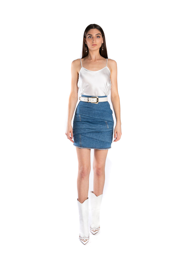 Draped Denim Skirt