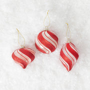 Peppermint Striped Globe Ornament Set
