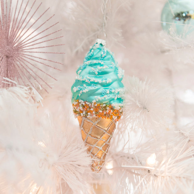 Sparkling Ice Cream Cone Ornament Set