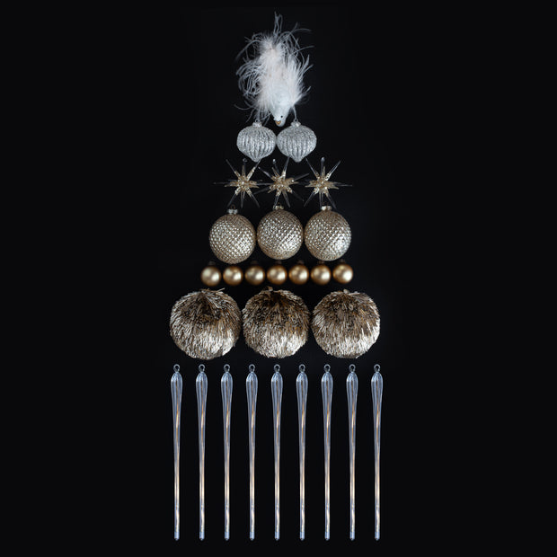 Golden Icicle Ornament Set