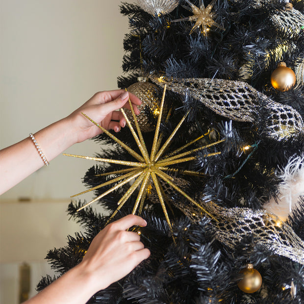 Gold Glittered Starburst Ornament