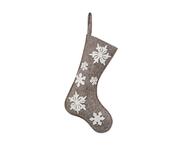 Wool Applique Snowflake Stocking