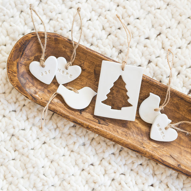 Hope, Joy, Noel Heart Ornament Set
