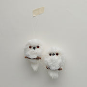 Feathery Owl Ornament Set
