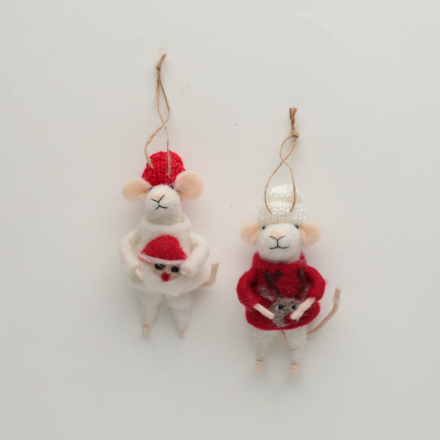 Cozy Sweater Mice Ornament Set