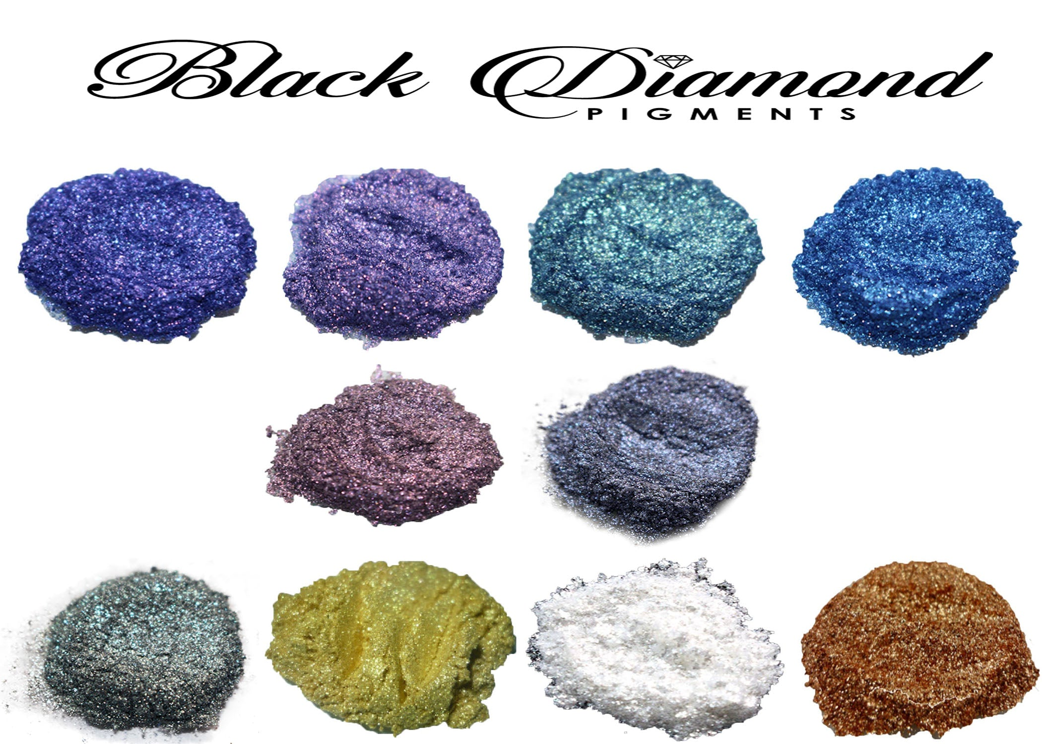 VARIETY PACK 10 (10 COLORS) mica powder pigment variety packs  Black Diamond Pigments® - Black Diamond Pigments