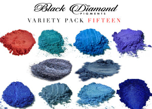 VARIETY PACK 15 (10 COLORS) mica powder pigment variety packs  Black Diamond Pigments® - Black Diamond Pigments